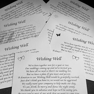 Image Is Loading Personalised Small Wedding Wishing Well Poem Cards Money