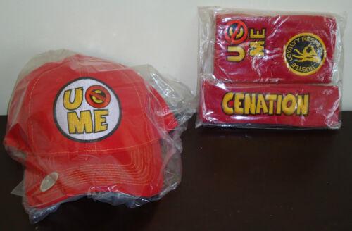WWE AUTHENTIC John Cena Red U Can/'t See Me Baseball Hat Headband Wristband Set