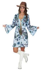 Hippie Kleid Blau Damen 60er 70er Jahre Disco Retro Kostum Karneval
