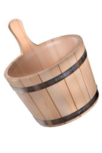 Aufgusseimer Saunakübel Saunaeimer mit Holzgriff und Kunststoffeinsatz  5ltr