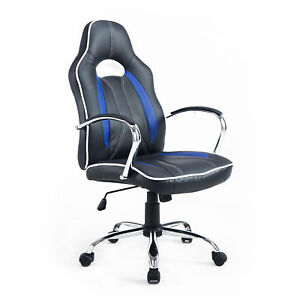 Executive Race Car Style Gaming Office Swivel Chair High-back Seat Black Blue