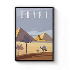 Retro Great Pyramids of Giza Egypt Poster Vintage Art Decor Print Artwork Framed