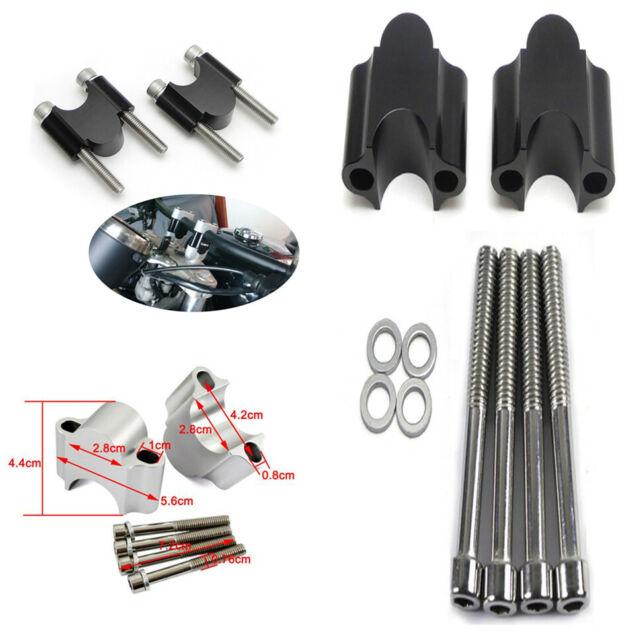 "1 1//8/"" Motorcycle Handlebar Aluminum Riser Kit 30mm Rise 28mm Bar Clamp Mount"