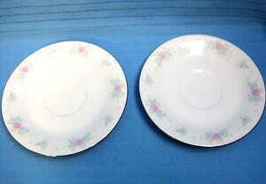 2-China-Garden-Saucers-Prestige-Pattern-White-Pastel-Flowers-Gold-Trim