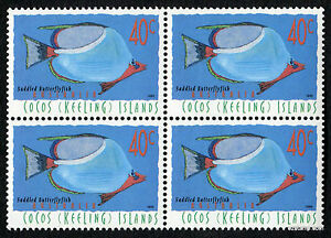 1996-Cocos-Keeling-Islands-Saddled-Butterflyfish-Block-of-4-MUH-Mint-Stamps