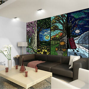 Airbrush four seasons abstract 3d full wall mural photo for 4 seasons mural