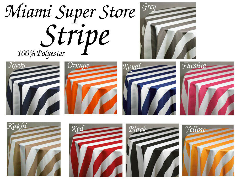 Striped Round Tablecloth 36 , 45 , 54 , 58 , 72 , 83 , 90,  96 , 108 ,120 , 132