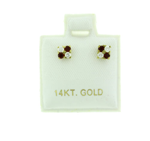 14k Yellow Gold 4 CZ Stone Red and White 4mm Stud Earrings Screw Back .6g