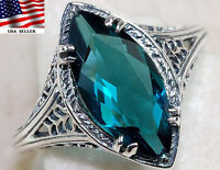 2CT London Blue Topaz 925 Solid Sterling Silver Ring Jewelry Sz 6,F1-2