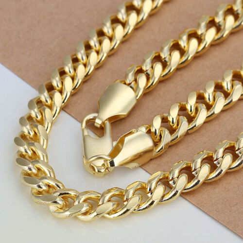 """Summer Style Jewelry 18K Gold GP 7MM 20/"""" Gold Tone Cool Men Chain Necklace N238"""