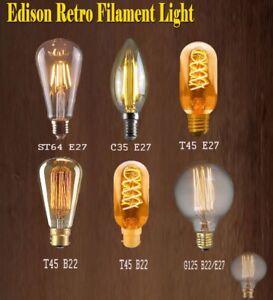 2 x Vintage Antique Spiral Filament Light Bulb 40w Bayonet Cap Dimmable