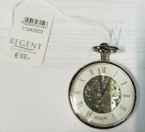 Small Regent Skeleton Lepine Pocket 32036 Chrome Mechanical White Roman (C)