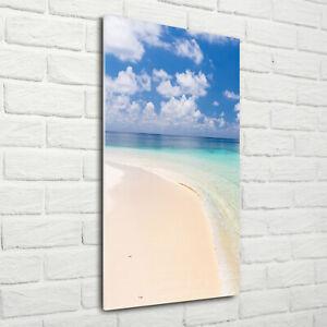 Wand-Bild-Kunstdruck-aus-Acryl-Glas-Hochformat-70x140-Malediven-Strand