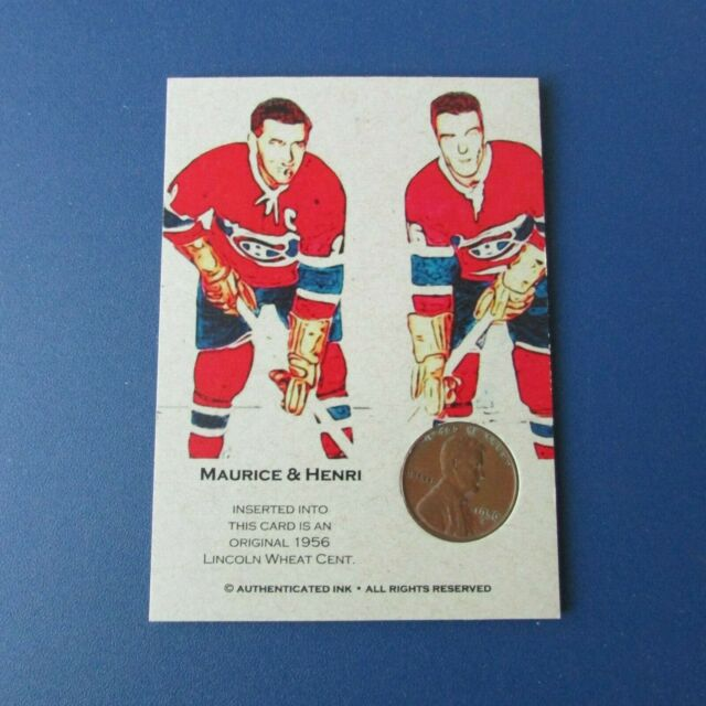 MAURICE & HENRI RICHARD Montreal Canadiens 1956 LINCOLN WHEAT CENT  Ink card