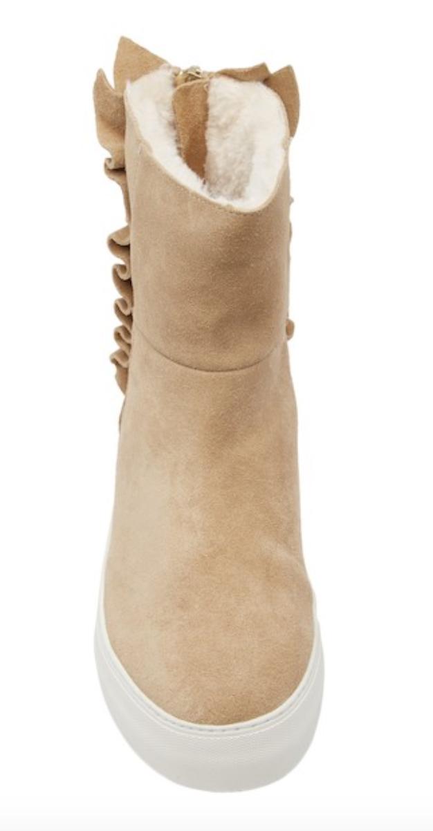 J Slides Ruffled Sand Suede Women's Boots Sz Sz Sz 9.5 M 4800 1da4e7