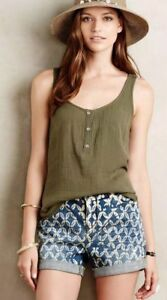 824bac9e7957 Cloth Stone Olive Green Cotton Tank Top Half Button Up Crinkle size ...