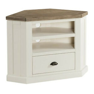 St Ives Painted Corner Tv Stand Country White Tv Unit Solid Wood
