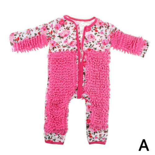 Baby Girl Mop One-piece Crawling Clothes Long Sleeves Mop Cleaning Floor Su E5Y8