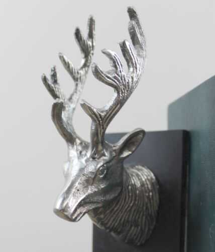 Silver Elk Reindeer Bookends with Black Wood Polished Aluminum