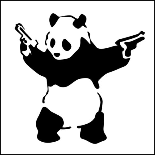 15cm Wide Banksy Gangster Panda Decal Sticker Vinyl Street Art