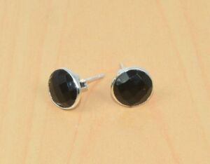 FREE-SHIP-925-SOLID-STERLING-SILVER-FACETED-BLACK-ONYX-STUD-EARRING