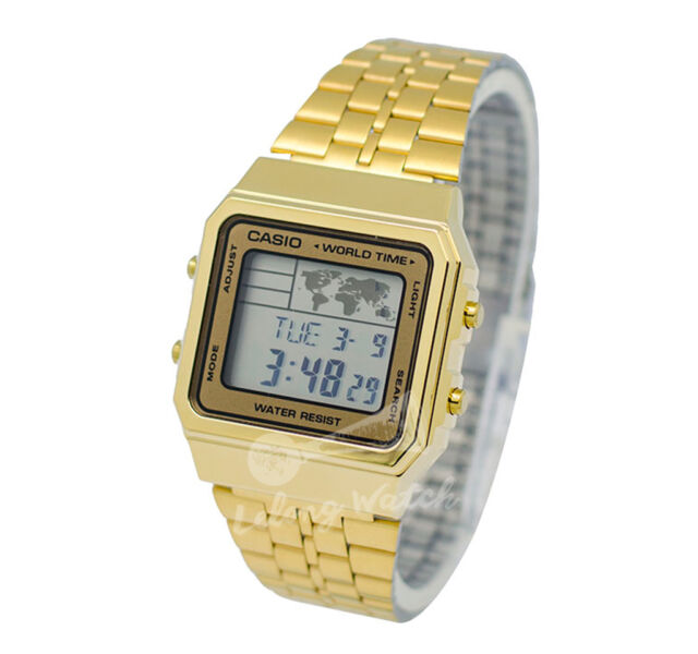 Casio world time map gold tone stainless steel digital watch a500wga casio world time map gold tone stainless steel digital watch a500wga 9d gumiabroncs Images