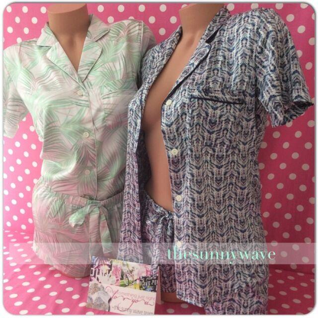 Victoria s Secret Afterhours Satin Boxer PJ PAJAMAS Set short Sleeves Shorts 6d236003e
