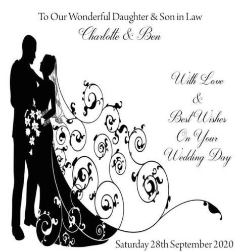 "Handmade Personalised 6/"" Square Wedding Congratulations Card"