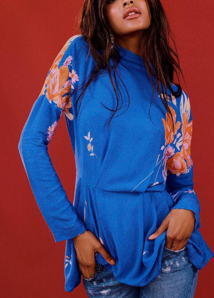 Free People OB686064 Gemma Tunic Long Sleeve Mini Dress In Blau