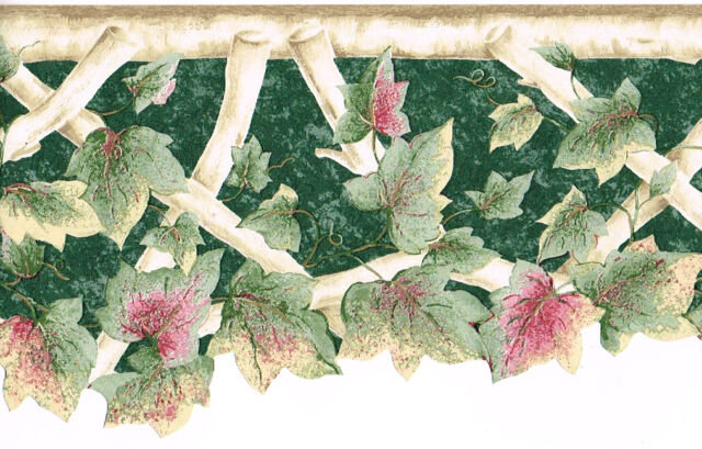 Green Burgundy Pink Ivy Leaf Twig Branch Lattice Sculptured Wall paper Border