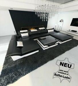 Ledersofa Wohnlandschaft Monza Xxl Designersofa Beleuchtung Couch