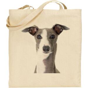 BG019986 /'Greyhound Dog/' Cotton Shopper Tote Bags