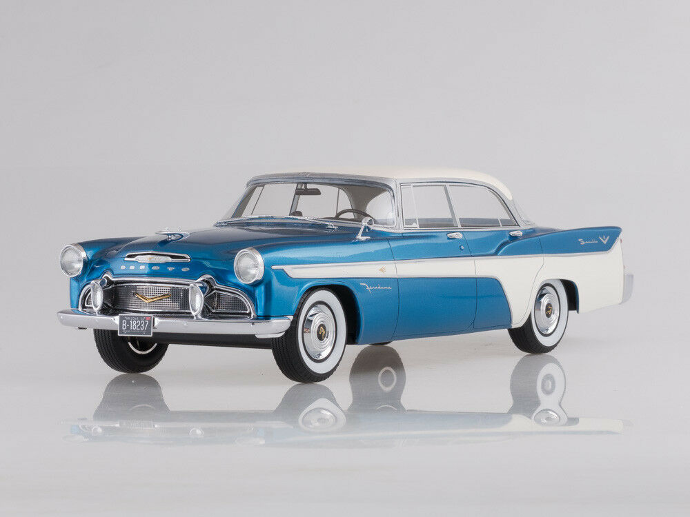 Scale model 1 18 Desoto Firedome 4-Door Seville, metallic-bluee white, 1956