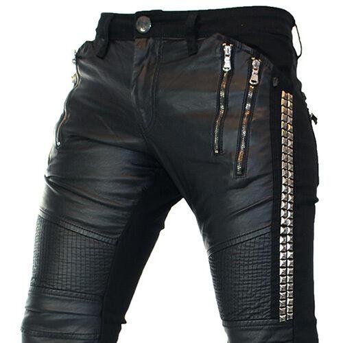 Kingz Metallic Biker Hommes Jeans Denim tous taille NEUF