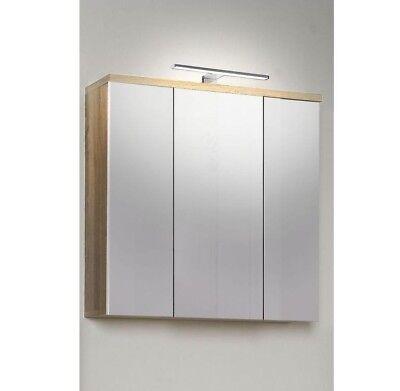 Badzubehör & -textilien Spiegelschrank Badschrank Schrank Mit Beleuchtung Veris 3 Türen Eiche Ausgezeichnet Im Kisseneffekt Möbel & Wohnen
