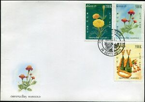 LAOS-STAMP-2004-MARIGOLD-FLOWERS-FDC-WITH-FOXING
