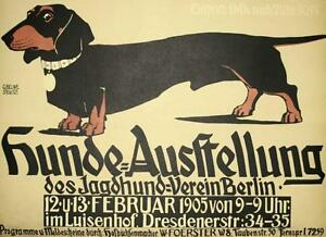 Hunde Ausstellung Dachshund Dog Show Poster Lithograph Hand Pulled