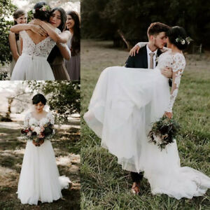 Customized 2019 Lace Boho Wedding Dresses Long Sleeves A Line Beach