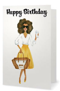 Fabulous African American Lady In Yellow Happy Birthday Greeting