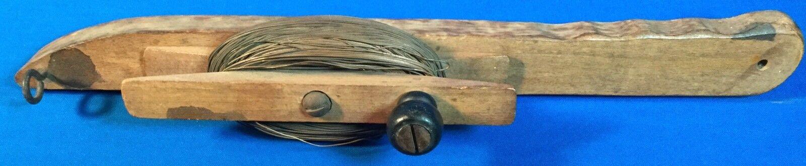 De Colección de Madera Pesca Línea de cobre de línea de mano de madera de mano manivela Carrete primitivo