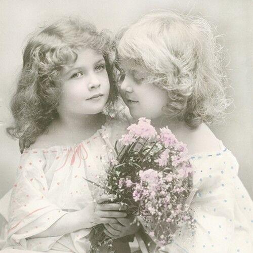 """3 SERVIETTES /""""BEST FRIENDS/"""" 33x33 des nappes dire Vintage CPA fleurs antique"""