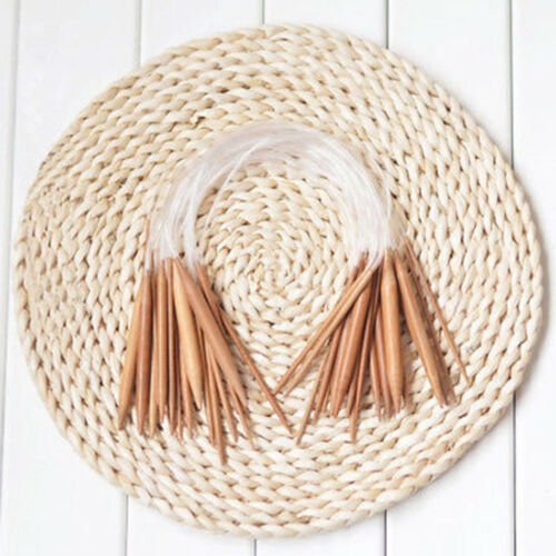 "18Pairs Bamboo Knitting Needles 16/"" Circular Smooth Nature Carbonized Set H9"
