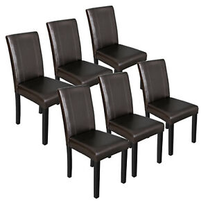 Outstanding Details About Set Of 6 Urban Leather Dining Parson Chairs With Solid Wood Espresso Finish Beatyapartments Chair Design Images Beatyapartmentscom