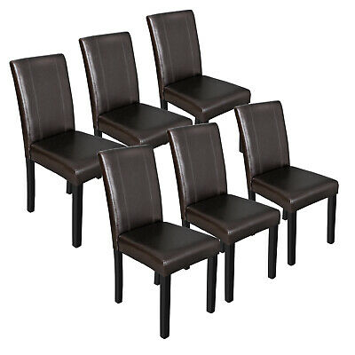 Pleasant Dining Parson Chair Set Of 6 Armless Kitchen Room Brown Leather Backrest Elegant Ebay Machost Co Dining Chair Design Ideas Machostcouk