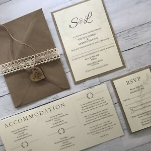 Details About Rustic Wedding Invitations Wedding Stationery Personalised Wooden Heart