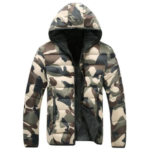 Da Uomo Giacca Militare Cappotto Invernale Lungo Slim Fashion Camoflage SMART Caldo Design