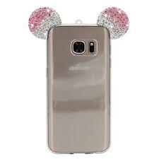 Samsung Galaxy S7 - Pink Diamond Rhinestone Minnie Mouse Ears Rubber Gummy Case