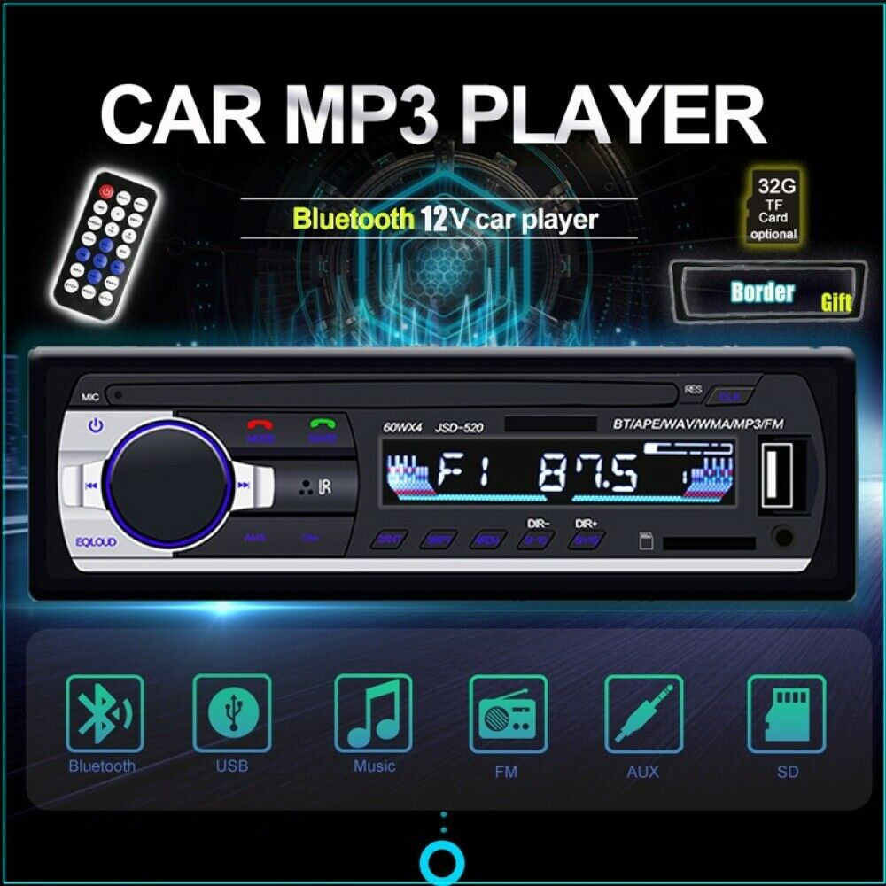 autoradio: Single 1DIN STEREO AUTO BLUETOOTH AUTORADIO RADIO FM MP3 USB AUX TF 12V+telaio