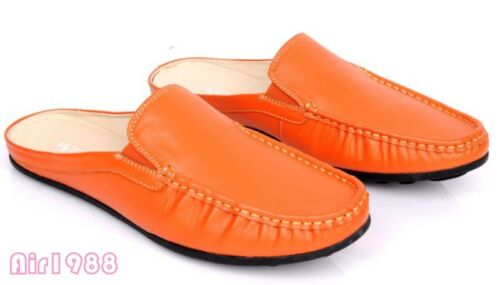 Mens leather Driving moccasins slippers slip on flats casual mules shoes Fashion
