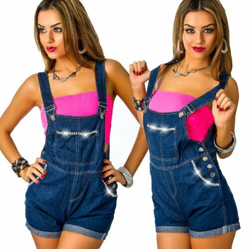 Glitzer Strass Shorts Latz Overall Jeansoverall Latzhose Playsuit*Blau*S L-36 40